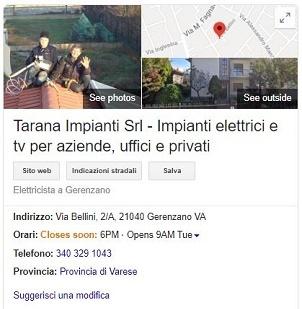 Scheda Google MyBusiness Tarana