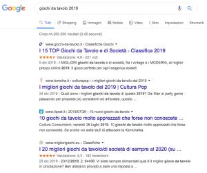 Favicon in Serp - Giochi da tavolo: Google 01 2020
